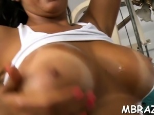 Lascivious brazilian mamita sucks hard wang of her stud
