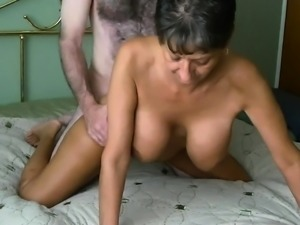 Chesty granny poked rear end and creampied
