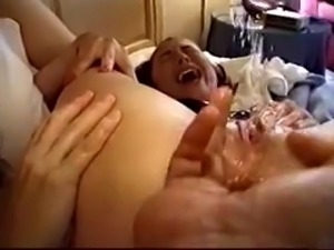 Girl gets squirting orgasm while anal fingering