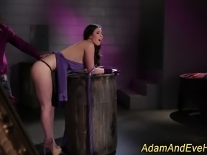 Glam babe gets spanked