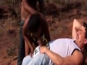 African real couple joined forces fucking Safari visitor German cock
