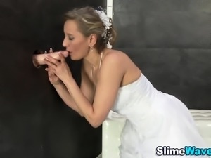 Bride rides gloryhole rod