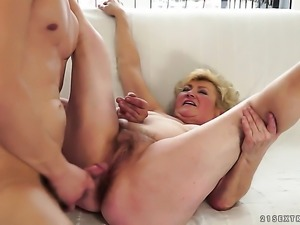 Blonde doll with huge boobs gets turned on then fucked by horny man