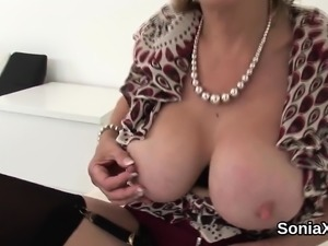 Unfaithful british milf lady sonia presents her big boobs