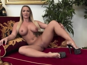 Kinky blonde pleasures three massive cocks