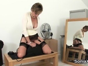 Cheating british milf lady sonia pops out her oversized boob