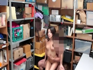 Very tiny tits thief Taylor May gets nailed in LP office