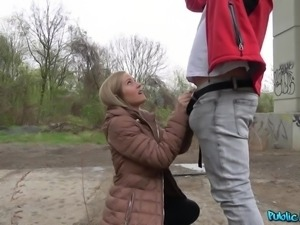 convinced blonde offers nice blowjob for money