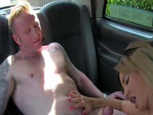 Tattooed guy eats and bangs blonde cab driver