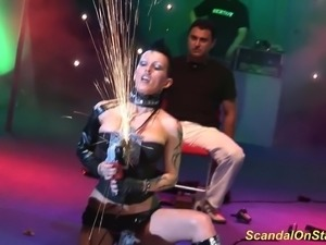 extrem bizarre fetish sex show on european public sex fair schow stage