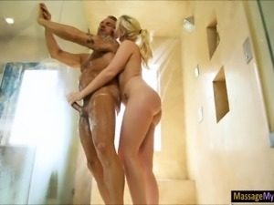 Glamour blonde masseuse gets nailed by her boss husband