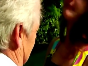 Horny older grandpa pounding you brunette babe outdoor