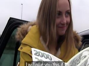 Blonde teen bangs in strangers car