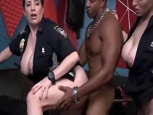 Long black schlong for busty policewomen in threeway