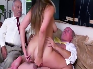 Mom and old man fucks hot babe Then he ensues up with by providing her