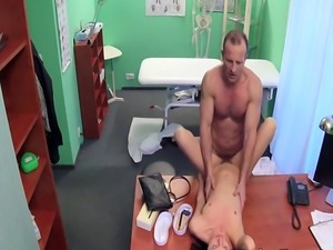 Experienced doctor bangs hairy patient