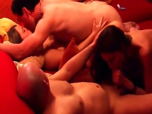 Amateur swingers banging in reality show orgy
