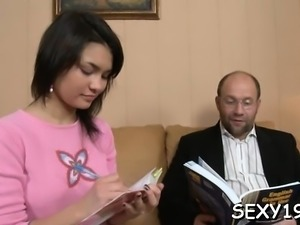 Naughty hottie is riding on teacher's hard dong zealously