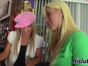 Kinky threesome session with two lovely blondes