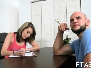 Man desires to fuck his gorgeous bitch in office