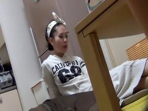 Asian teen babe urinating