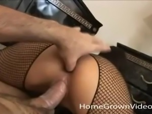 Shy wearing fishnet pantyhose and getting drilled by her lover Gino