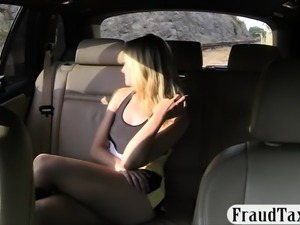 Hot blonde passenger payed her taxi fare with her pussy