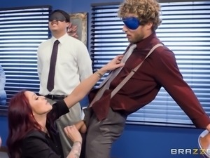 cute redhead babe wants to blow every guy in the office