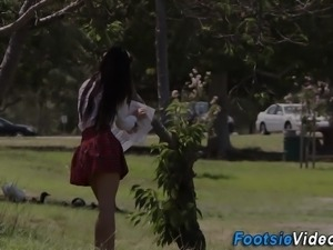 Kinky teens feet cumshot
