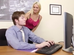 Busty Blond Sarah Vandella Seduces Employee