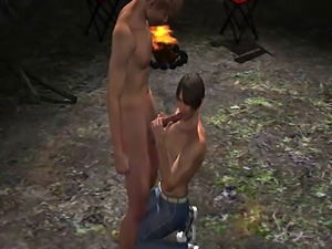 3D stud sucks cock and gets fucked in the ass by a camp fire
