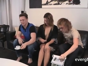 Bankrupt fellow allows sexy buddy to fuck his ex-gf for hard