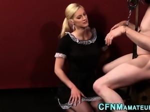 Femdom amateur tugs cock