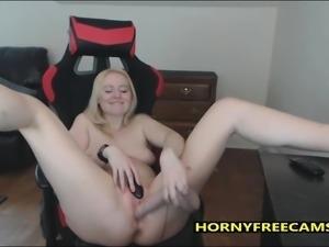Blonde Secretary Fucks Big Shaved Pussy Hard