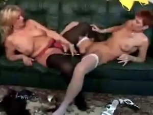 Busty lesbian grannies licking cunts and using dildo