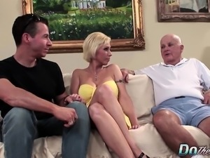 Blonde MILF wife big cock anal creampie