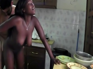 Very sexy ebony chick gets fucked by her white lover in the kitchen