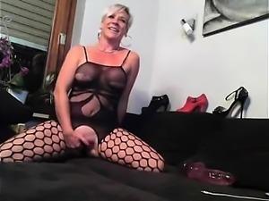 British blonde milf Jane Bond solo masturbation