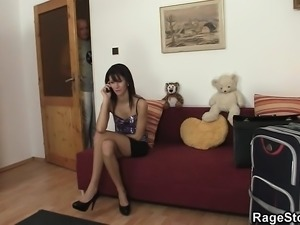 Nasty cheater gets her lewd coach drilled roughly