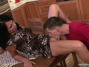 Sharing my brunette wife with big cocked friend