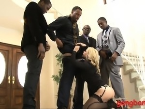 Busty blond hottie Sarah Vandella DP by big black cocks