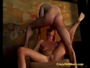 Crazy old mom gets banged hard sucking and fucking