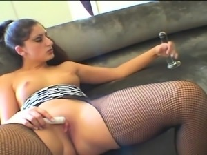 Brunette girl masturbates anal with toys and orgasm