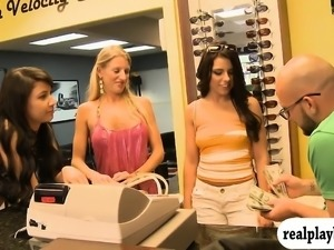 Sexy women flashed their boobs in local store for money