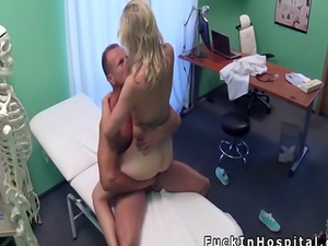 Petite blonde bangs fake doctor