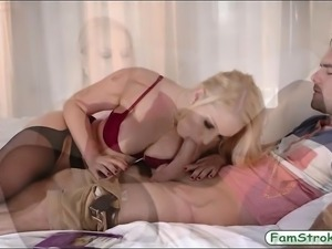 Busty blonde milf Vanessa Cage screwed by younger hard cock