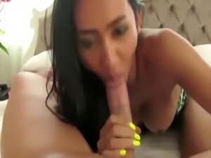 Hottest tranny ever sucks big dick and rides it like a pro