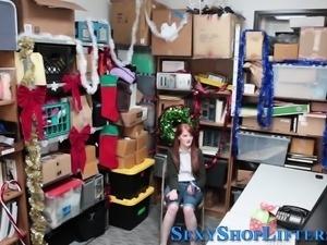 Teen shoplifter face jizz