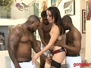 Tight hot babe gets dped by big black cocks on the couch