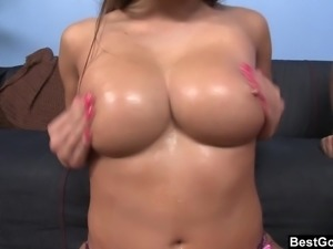 Stacked Mia loves a big dick and a load on her tits